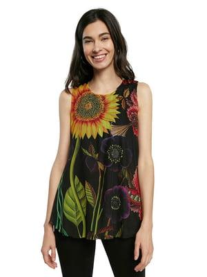 Блуза-топ чорна в квітковий принт | 5636008