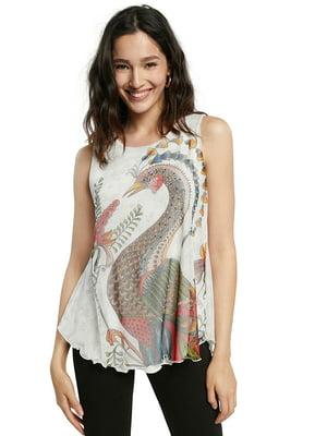 Блуза-топ біла в принт | 5636009