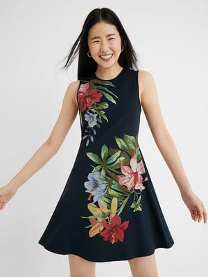 Сукня чорна в квітковий принт   5636013