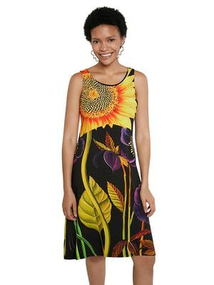 Сукня чорна в квітковий принт   5636016