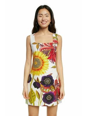 Платье белое в цветочный принт | 5636026