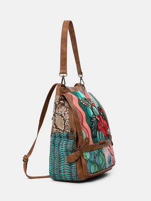 Рюкзак комбинированного цвета с цветочной вышивкой | 5636049