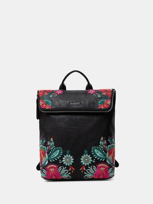 Рюкзак черный с цветочной вышивкой | 5636051