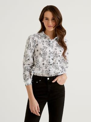 Рубашка белая в цветочный принт | 5636154