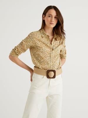 Рубашка бежевого цвета в принт | 5636161