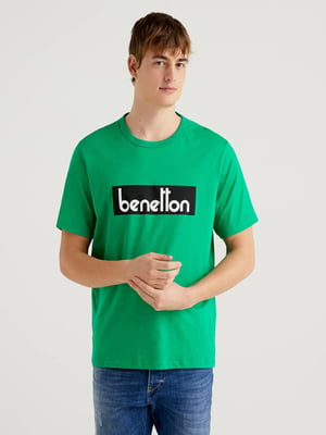 Футболка зеленая в принт | 5636182