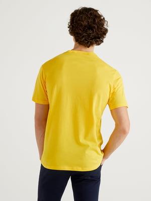 Футболка жовта в принт | 5636187