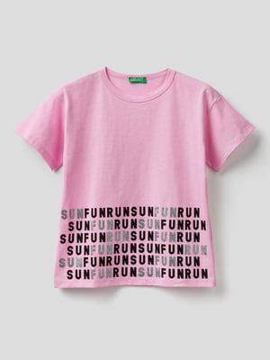 Футболка рожевого кольору в принт | 5640838