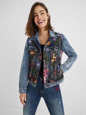 Жакет джинсовый синий с цветочным рисунком | 5647112