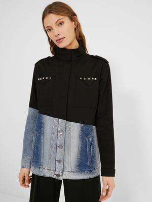 Куртка двоколірна з декором | 5647115