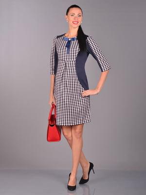 Платье синее в «гусиную лапку» | 5647401
