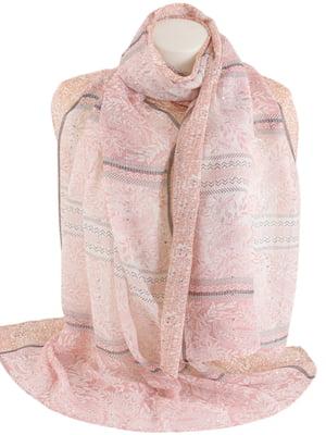 Шаль розового цвета с орнаментом | 5633574