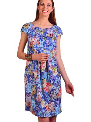 Платье синее в цветочный принт | 5647399