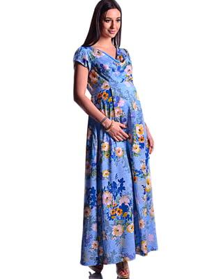 Платье синее в цветочный принт | 5647400