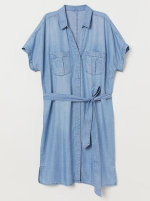 Платье-рубашка синее | 5642390