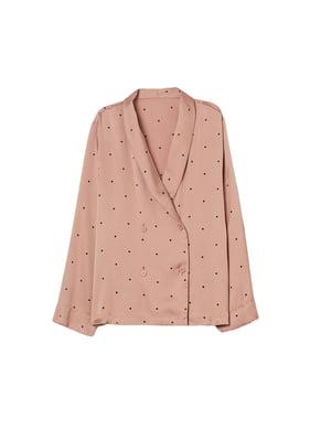 Блуза пудрового цвета в горошек | 5648006