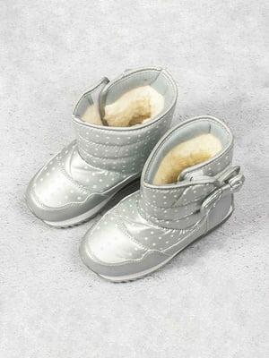 Чоботи сріблястого кольору в горошок   5648067