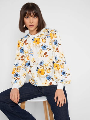 Блуза біла з квітковим принтом | 5647282