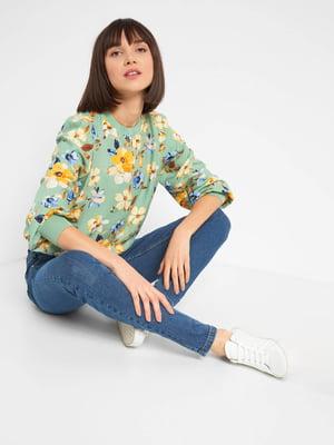 Блуза зелена з квітковим принтом | 5647283