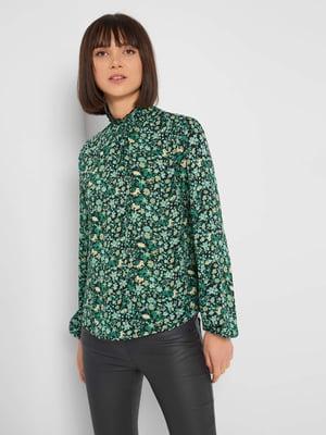 Блуза чорна з квітковим принтом | 5647287