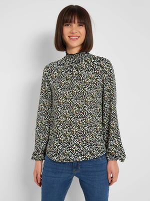 Блуза чорна з квітковим принтом | 5647288