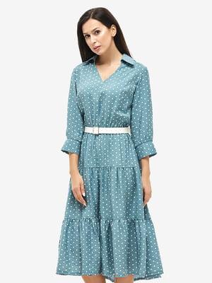 Сукня бірюзового кольору в горошок | 5655280