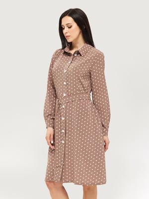 Платье коричневое в горошек | 5655230