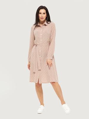 Платье бежевое в горошек | 5655232