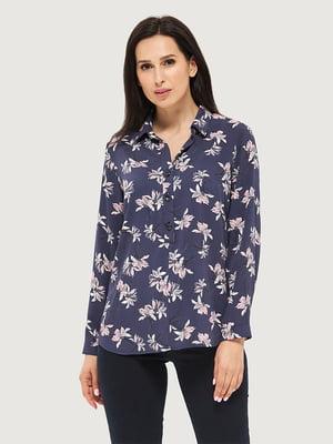 Блуза синяя в принт | 5655236