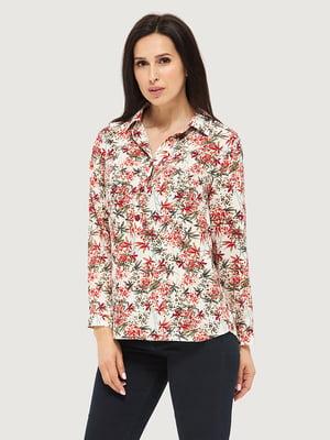 Блуза белая в принт | 5655275