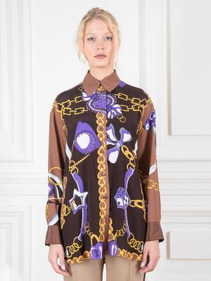 Блуза коричневая в принт | 5528461