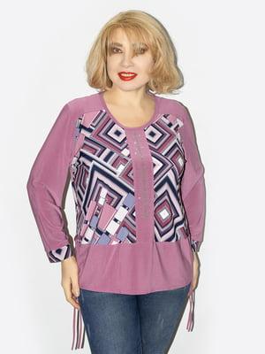 Блуза бузкового кольору з принтом | 5656310