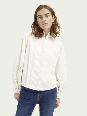 Рубашка белая с узором | 5647344
