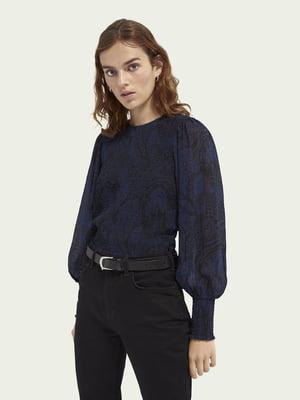 Блуза синяя в принт | 5647345