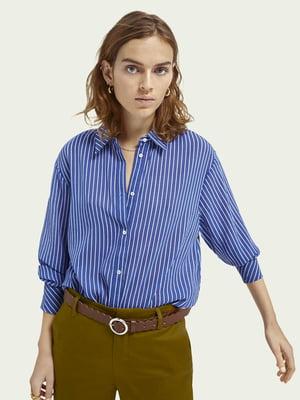 Рубашка голубого цвета в полоску | 5647349