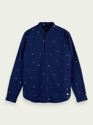 Сорочка синя з нашивками | 5647383