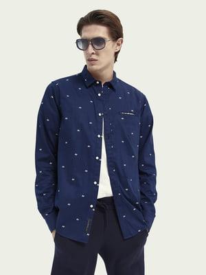 Сорочка синя з нашивками | 5647391