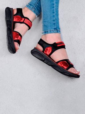 Сандалии красно-черные с логотипом   5657273