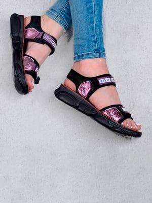 Сандалии фиолетово-черные с логотипом   5657274