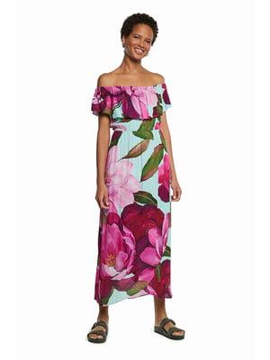 Сукня біла різнокольорова у принт   5647122