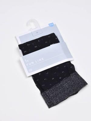 Шкарпетки чорно-сріблясті в принт | 5610095