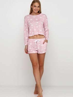 Шорты пижамные розового цвета в принт | 5486183