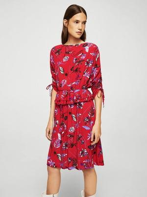 Сукня червона у квітковий принт | 5517532