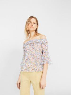 Блуза біла в квітковий принт | 5535443