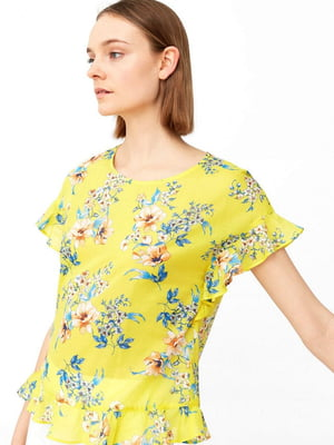 Блуза желтая в цветочный принт | 5535458