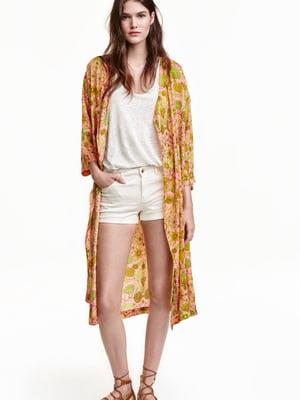 Платье-кимоно розовое с принтом | 5622645