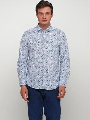 Рубашка голубого цвета в цветочный принт | 5658209