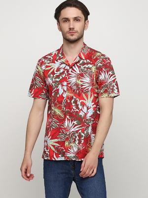 Рубашка красного цвета в цветочный принт | 5658211