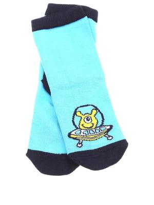 Шкарпетки блакитного кольору в принт | 5658456
