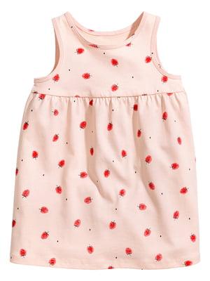 Платье розового цвета в принт   5658667